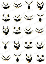 20 HALLOWEEN NAIL DECALS -SCARY JACK O LANTERN FACES WATER SLIDE DECALS PUMPKIN