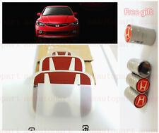 RACING SET Red H Emblem Front Rear Steering Wheel Fit 2006-15 HONDA CIVIC SEDAN