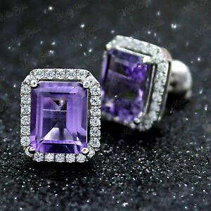 3.20Ct Emerald Cut Amethyst and Diamond Halo Stud Earrings 14K White Gold Finish
