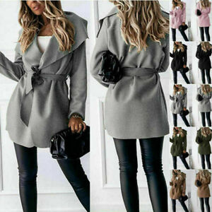 Women Italian Short Duster Jacket Ladies French Belted Trench Waterfall Coat