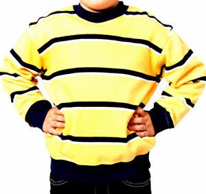 Kinder Shirt Jungen Sweatshirt gelb lila Gr.2/92 4/104 6/116 8/128 10/140 12/152