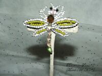 Vintage Antique RHINESTONE DRAGONFLY Bohemian Glass Prong Set Brooch/Pin