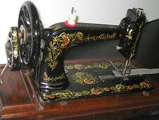 ANTIQUE SINGER 48K CAST IRON HAND CRANK SEWING MACHINE WITH BENT WOODEN CASE