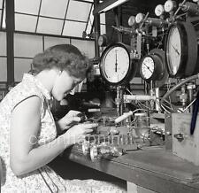 Woman Working Gauges Meters BF Goodrich Shelton CT? 1955 Negative Photo