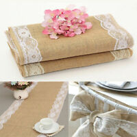 Natural Woven Jute Burlap Table Runner Wedding Home Party Banquet Decor New Hot