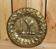 Vintage Morocco hand made souvenir brass wall hanging plate