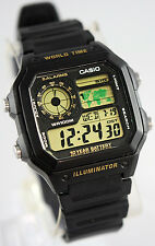 Casio AE-1200WH-1BV Watch 10 Year Battery 4 World Time Zones 5 Alarms New
