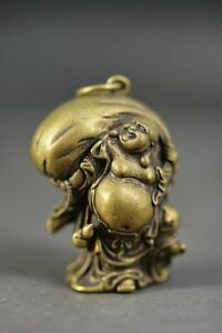 Rare Chinese Solid Copper Carved Smile Buddha&Money Bag Lucky Statue/Pendant A4
