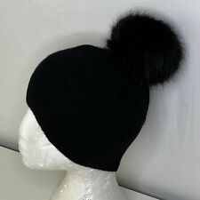 OS Women's Portolano Cable Knit 100% Cashmere Faux Fur Pom Pom Beanie Black