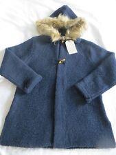 BNWT Girls Zara Navy Blue Chunky Knit Fur Trimmed Hooded Cardigan Age 11-12yrs