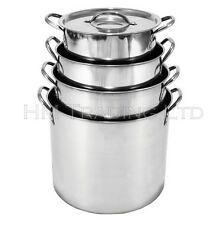 Prima 6 Litre and 8 Ltr Stainless Steel Stock Pot Stew Deep Soup Food Pan Set