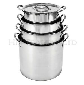6 Litre and 8 Ltr Stainless Steel Stock Pot Stew Deep Soup Food Pan Set