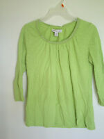 Woman's Coldwater Creek Green Neck line trim 3/4 Sleeve Top Blouse Shirt sz XS