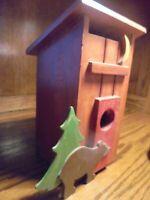 Wooden Handmade Birdhouse/ Brown Bear/ Tree/ Hand-Painted Rustic Redwood      82
