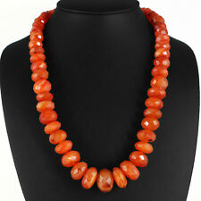 AAA  790.00 CTS NATURAL FACETED RICH ORANGE CARNELIAN BEADS NECKLACE STRAND