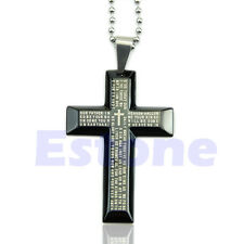 Unisex New Gift Men Stainless Steel Cross Pendant Black Silver Bible Necklace