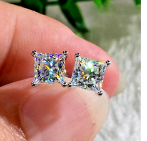 14K White Gold Over 2 Ct Princess Cut Diamond Women Solitaire Stud Earrings Gift