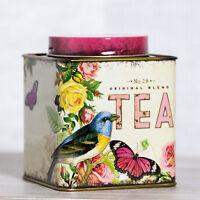 Floral Birds Metal Tea Caddy Storage Tin Vintage Retro Kitchen Container Gift