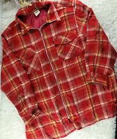 Essentials Style red plaid flannel zip up shirt jacket PLUS SIZE 1X lined (D1)
