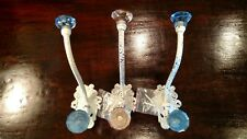 Shabby Chic Wall Hooks With Pink & Blue Glass Finials