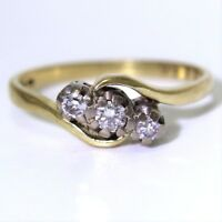 Vintage Diamond Trilogy 18ct Yellow Gold Bypass ring size K ~ US 5 1/4