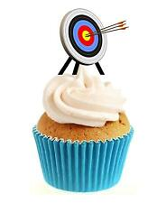 Novedad Archery meta 12 Comestibles Stand Up Oblea papel Cake Toppers Cumpleaños