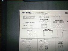 1960 Rambler American SIX Series 01 Models 195.6 CI L6 Tune Up Chart