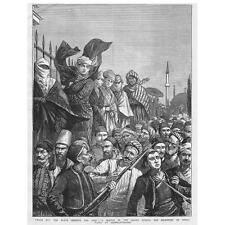 TURKEY Crowd Scene Reception of Osman Pasha Constantinople - Antique Print 1878
