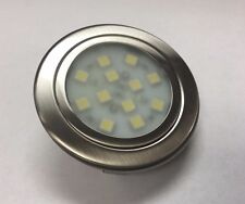 RV 12 Volt Nickel LED Overhead Recessed Light Frosted Lens Push Spring Fit 3500K