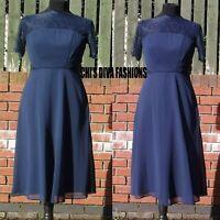 NEW EX ASOS Lace Insert Panelled Chiffon Midi Dress Sizes UK 8-20