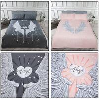 ANGEL WINGS Foil Shine Shimmer Detail Stars Duvet Cover Quilt Cover Set Bedding