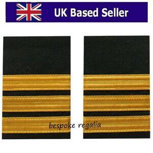 3 Bar Airline Pilot or Merchant Marine Epaulette, Gold Stripe Epaulettes (NEW)
