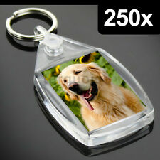 250x Clear Acrylic Blank Keyrings Key Fobs 35 x 24 mm | Small Size Photo