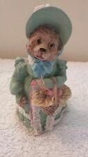 Teddy Bear Resin Figurine in Blue Dress and Bonnet w/basket