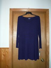 Long Sleeve V-Neck Dress size LG APT 9 Night Blue Black Striped 95% rayon 5% spa