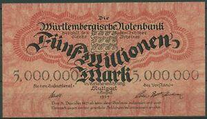 Württembergische Notenbank 5 Millionen Mark 1923, Ro 779 kassenfrisch (K717)