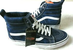Vans Mens Sk8-Hi MTE All Weather Suede Skate shoes Navy Blue White Size 10.5 NEW