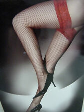 SEXY SAUCY RED LACE TOP FISHNET HOLD UP STOCKINGS BOXED