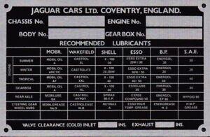 Jaguar XK & MK 2 Chassis Plate