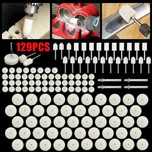 129x Wool Felt Buffing Polishing Pads Wheel Set For Dremel Grinder Accessories