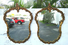 French Distressed Gold Hand Carved Pair of Wall Bathroom Vanity Mirrors 1118