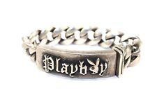 RAREST! Vtg A&G Sterling Silver PLAYBOY Bracelet w Black DIAMOND Bracelet HEAVY!