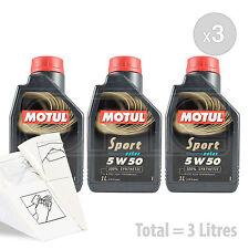 Car Engine Oil Service Kit / Pack 3 LITRES Motul Sport 5W-50 Engine Oil 3L