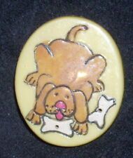 Dog & Bone Pin Badge Brooch Yellow Oval Brown Dog Vintage Retro 80s