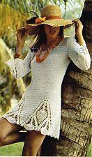 CROCHET PATTERN LADIES MINI DRESS TUNIC TOP TROUSER SUIT BELL BOTTOMS VINTAGE