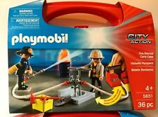 """Playmobil City Action """"Fire Rescue"""" Building Set with Carrying Case #5651 36 pcs"""