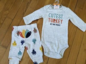 Baby 2pc Thanksgiving Bodysuit - Just One You made by carter's Gray 12M