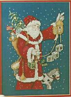 Joyful American Santa Christmas Cross Stitch Pattern Chart from a magazine