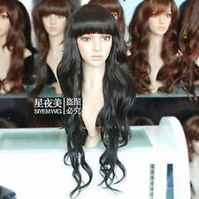 100% Real Hair! New Fashion Long Black Human Hair Wavy Curly Wig