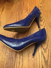 Womens Forever 21 Patent Leather Royal Blue Pumps High Heel  Shoes Sz 9